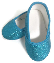 Glitter Slip On Shoes-Turquoise