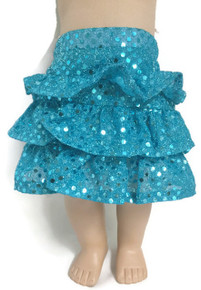 Sequined Ruffled Skirt-Turquoise