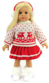 Reindeer Winter Sweater, Red Pleated Skirt, & Earmuffs