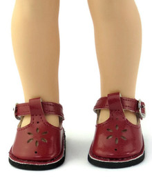 Mary Jane Shoes-Burgundy for Wellie Wishers Dolls