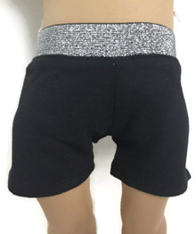 Knit Shorts with Silver Waistband-Black
