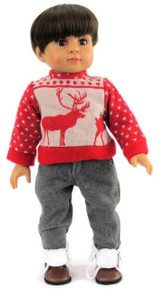 Red Reindeer Sweater and Gray Pants