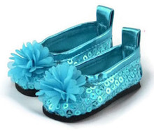 Sequined Dress Shoes with Flower-Teal for Wellie Wishers Dolls