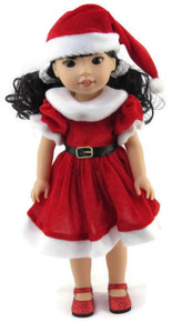 Red Santa Dress & Hat for Wellie Wishers Dolls