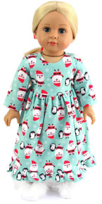 Santa Print Nightgown & Red Hair Ribbon