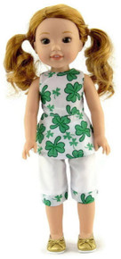 St Patrick's Day Four Leaf Clover Outfit for Wellie Wishers Dolls