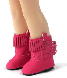 Fringed Cowboy Boots-Hot Pink for Wellie Wishers Dolls