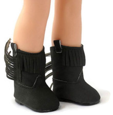 Fringed Cowboy Boots-Black for Wellie Wishers Dolls