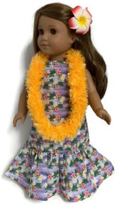 Lavender Hawaiian Dress, Orange Lei, &  Red Hair Clip