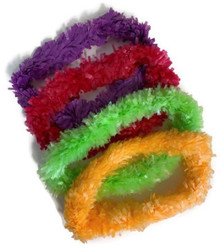 4 pack Hawaiian Garland Leis-Purple, Red, Green & Orange