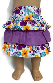 Purple and Floral Ruffled Skirt