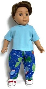Blue Short Sleeved Top & Mitten Print Pants