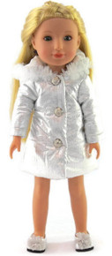 Silver Hooded Puffer Jacket for Wellie Wishers Dolls