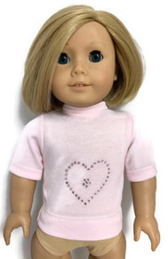 Short Sleeved Knit Top with Rhinestone Heart-Pink