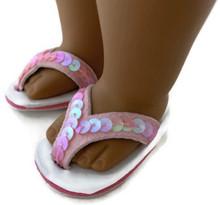 Sequined Flip Flop Sandals-Pink