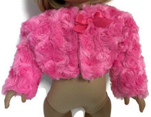 Plush Shrug Jacket with Bow-Bright Pink