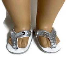 Sequined Flip Flop Sandals-Silver