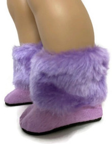 Lavender Suede Boots with Fur Trim