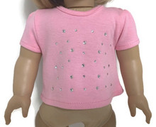 Capped Sleeved Shirt with Rhinestones-Pink
