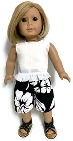 White Sleeveless Blouse & Black Hawaiian Short Set