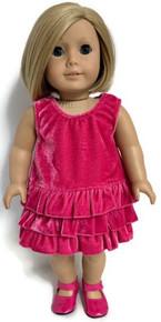 Sleeveless Pink Velour Ruffled Dress