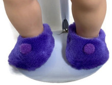 Fuzzy Slippers with Pom Poms-Purple