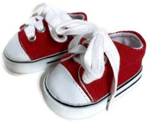 3 Pairs of Low Top Canvas Sneakers-Red