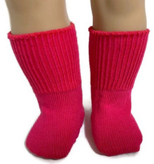 6 Pairs of Knit Sport Socks-Hot Pink
