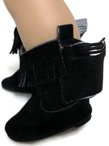 Suede Cowboy Boots-Black