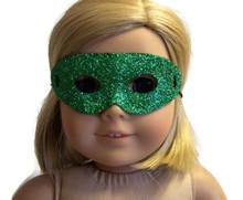 12 Halloween Masks-Green Glitter