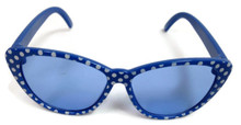 6 sunglasses-Blue with White Polka Dots