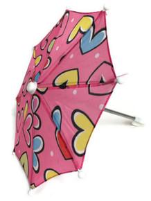 3 Umbrellas-Pink with Hearts