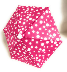 3 Umbrellas-Pink with White Polka Dots