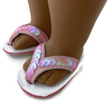3 pair of Sequined Flip Flop Sandals-Pink