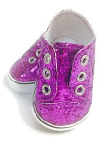 3 pair of Sequin Slip On Sneakers-Purple