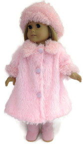 Fluffy Coat & Hat-Pink
