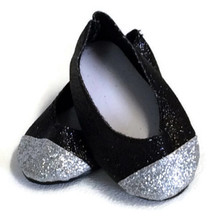 3 pair of Black & Silver Glitter Flats