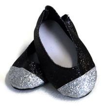 3 pair of Black & Silver Glitter Flats