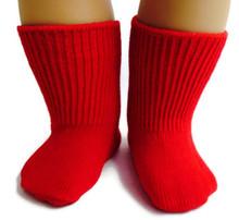 6 pair of Knit Sport Socks-Red