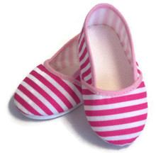 3 pair of Canvas Slip On Shoes-Pink & White Striped