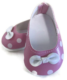 3 Pink with White Polka Dots and Bow Shoes