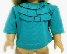 3 of Top with Ruffled Neck-Teal