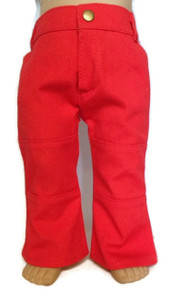 3 of Denim Pants with Pockets-Red