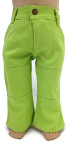 3 of Denim Pants with Pockets-Lime Green