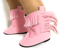 3 pair of Suede Cowboy Boots-Pink