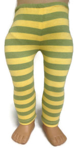 3 pair of Yellow & Green Striped Knit Leggings