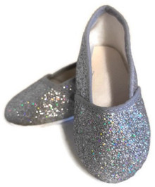 3 pair of Glitter Slip On Shoes-Silver