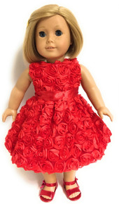 3 of Sleeveless Roses Party Dress-Red
