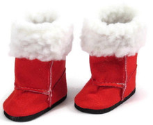 Boots with White Fur-Red for Wellie Wishers Dolls