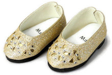 Glitter Shoes with Floral Cut Outs-Gold for Wellie Wishers Dolls